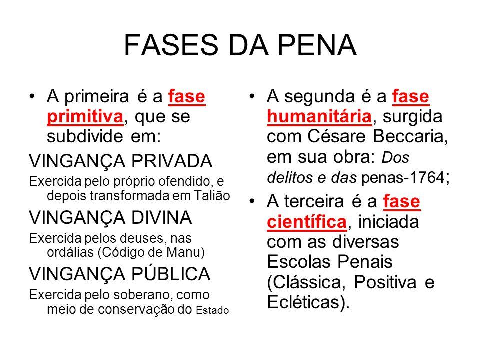 FASES DA PENA A primeira é a fase primitiva, que se subdivide em: