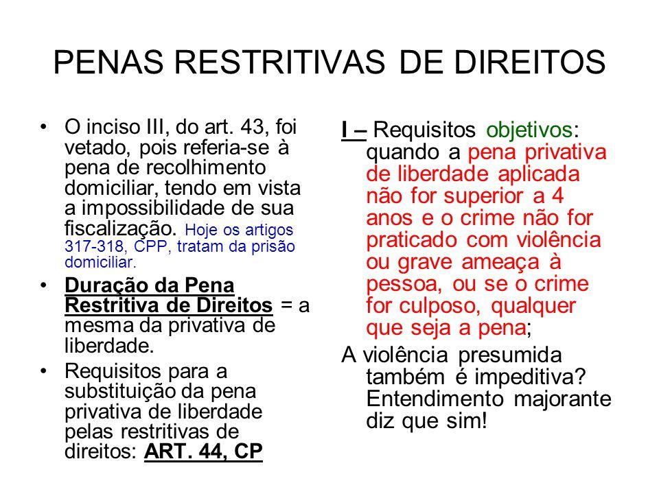 PENAS RESTRITIVAS DE DIREITOS