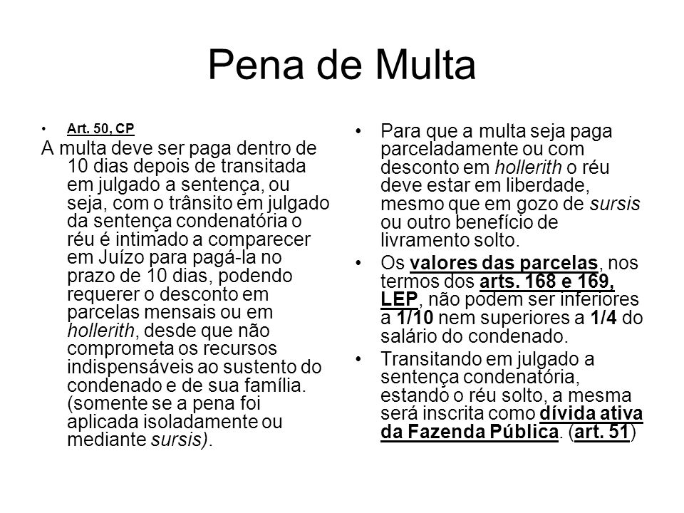 Pena de Multa Art. 50, CP.