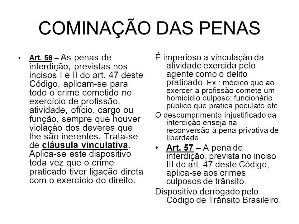 COMINAÇÃO DAS PENAS