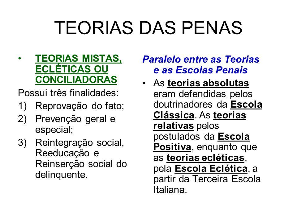 TEORIAS DAS PENAS TEORIAS MISTAS, ECLÉTICAS OU CONCILIADORAS