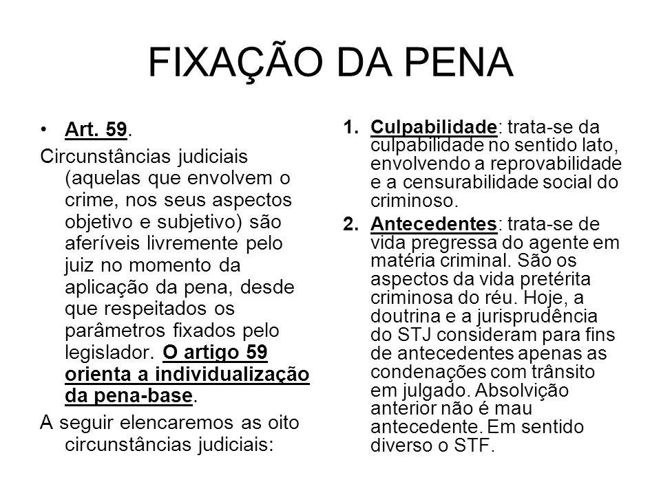 FIXAÇÃO DA PENA Art. 59.