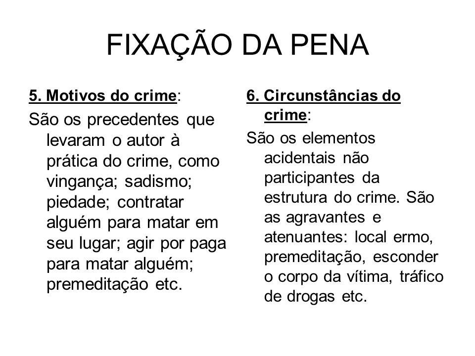 FIXAÇÃO DA PENA 5. Motivos do crime: