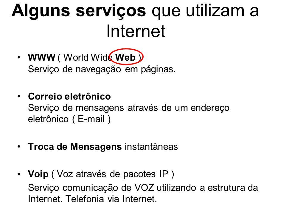 Alguns serviços que utilizam a Internet