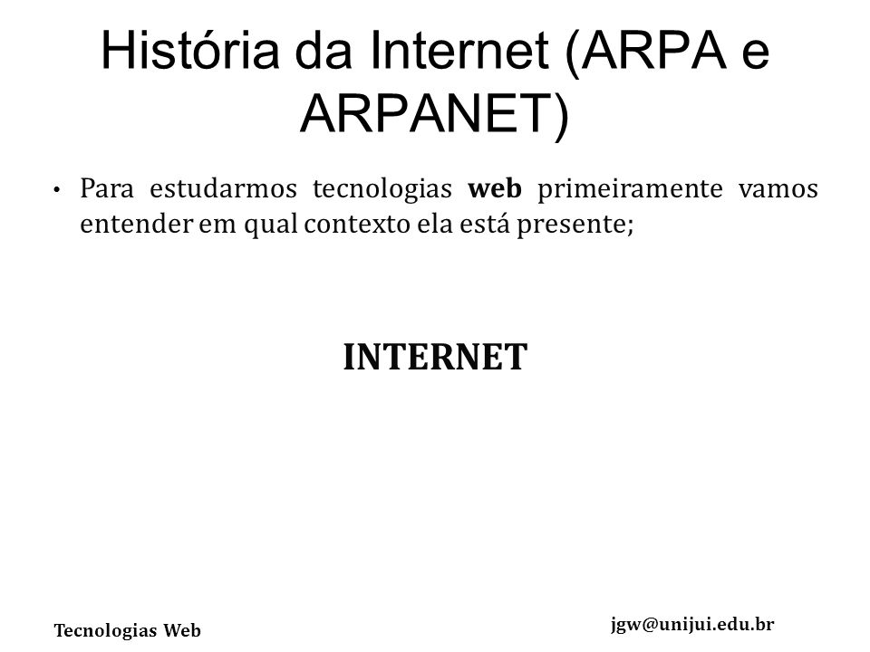 História da Internet (ARPA e ARPANET)