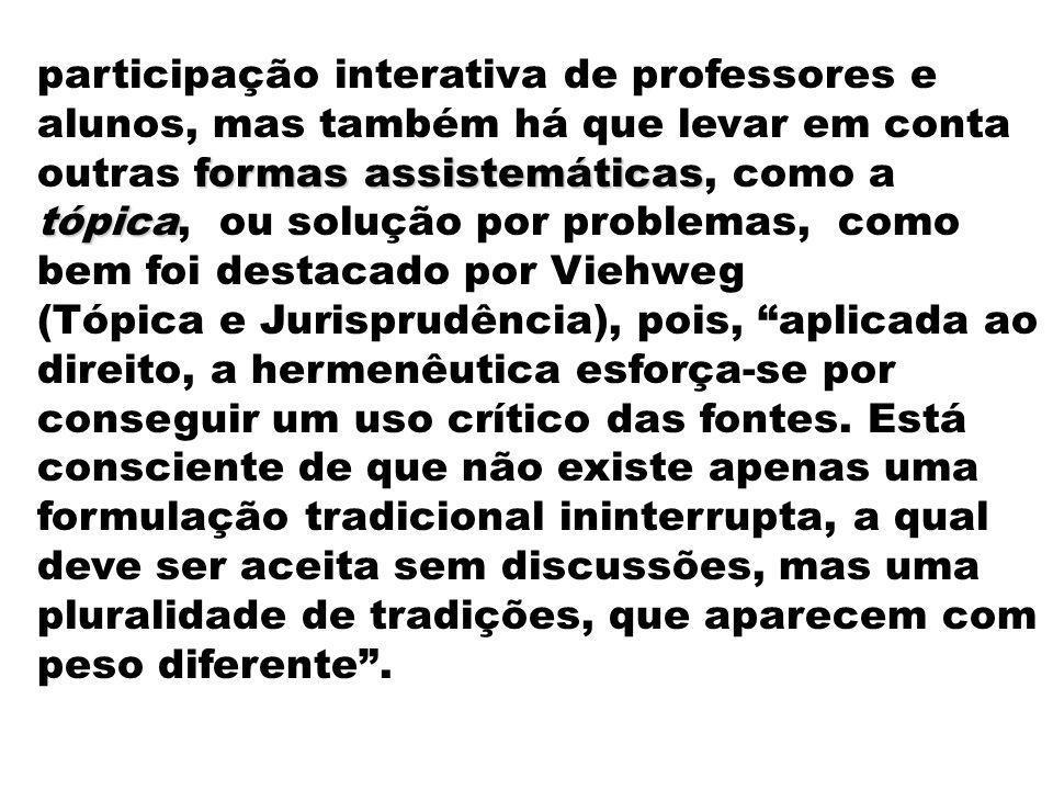 participação interativa de professores e alunos, mas também há que levar em conta outras formas assistemáticas, como a tópica, ou solução por problemas, como bem foi destacado por Viehweg