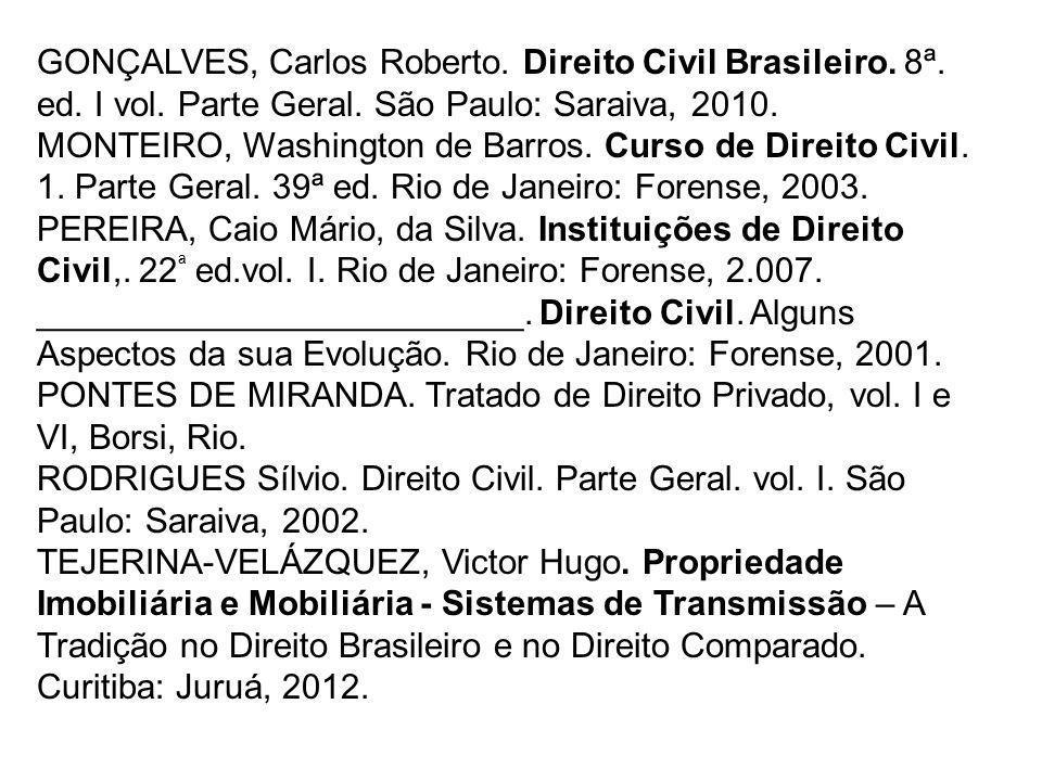 GONÇALVES, Carlos Roberto. Direito Civil Brasileiro. 8ª. ed. I vol