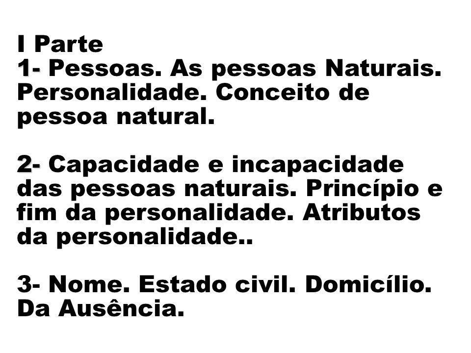 I Parte 1- Pessoas. As pessoas Naturais. Personalidade. Conceito de pessoa natural.