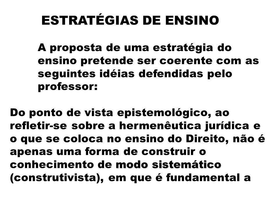 ESTRATÉGIAS DE ENSINO A proposta de uma estratégia do ensino pretende ser coerente com as seguintes idéias defendidas pelo professor: