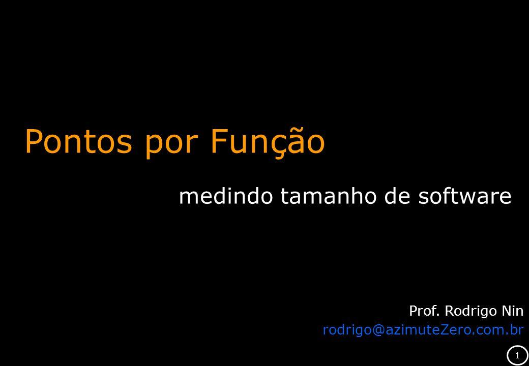 Pontos por Função medindo tamanho de software Prof. Rodrigo Nin