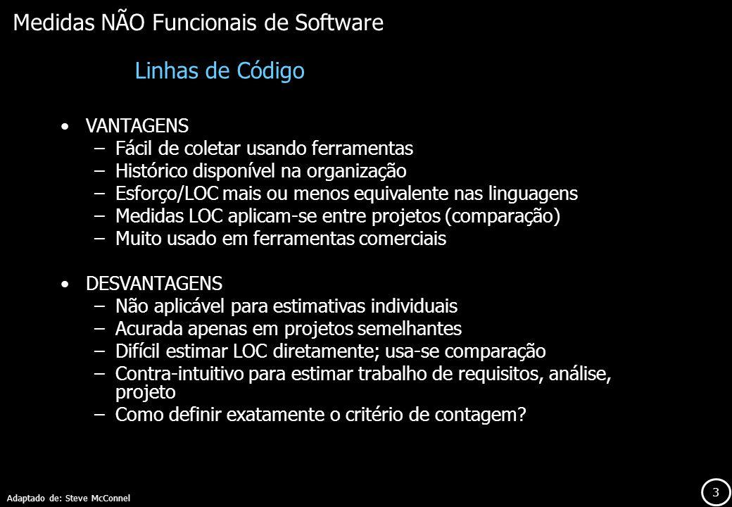 Medidas NÃO Funcionais de Software