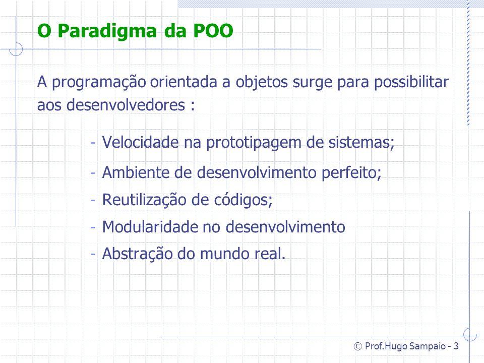 O Paradigma da POO A programação orientada a objetos surge para possibilitar aos desenvolvedores : Velocidade na prototipagem de sistemas;