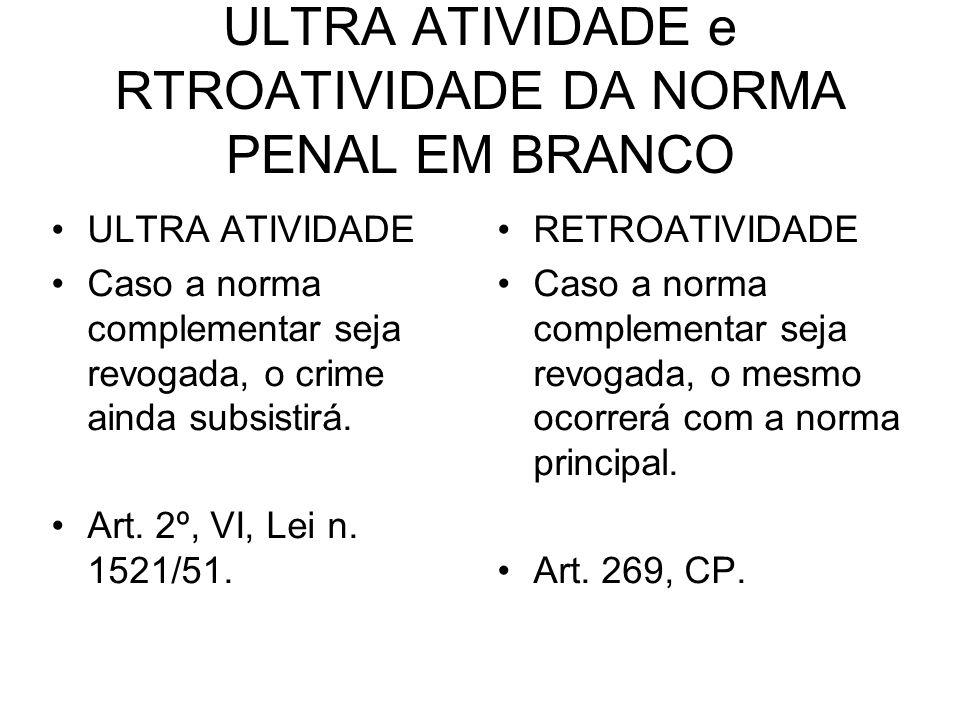 ULTRA ATIVIDADE e RTROATIVIDADE DA NORMA PENAL EM BRANCO