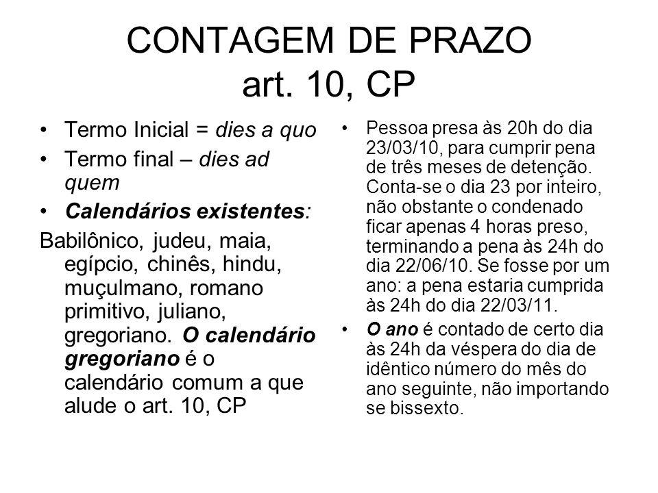 CONTAGEM DE PRAZO art. 10, CP