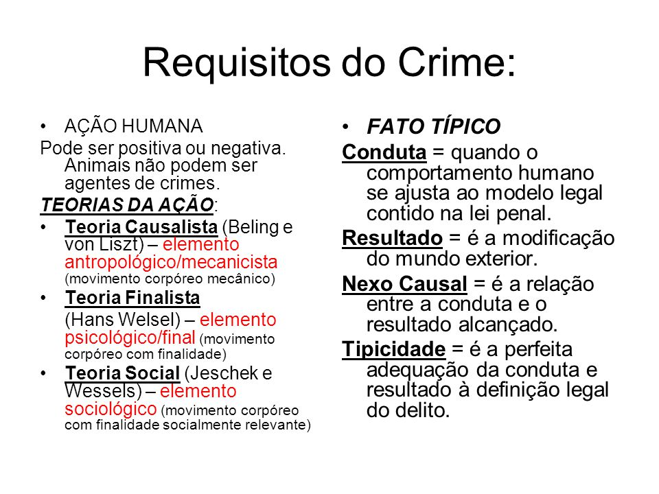 Requisitos do Crime: FATO TÍPICO