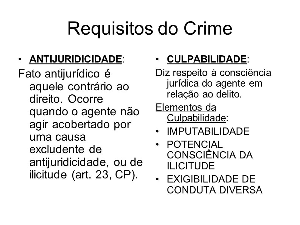 Requisitos do Crime ANTIJURIDICIDADE: