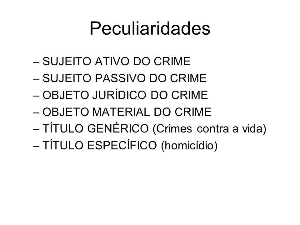 Peculiaridades SUJEITO ATIVO DO CRIME SUJEITO PASSIVO DO CRIME