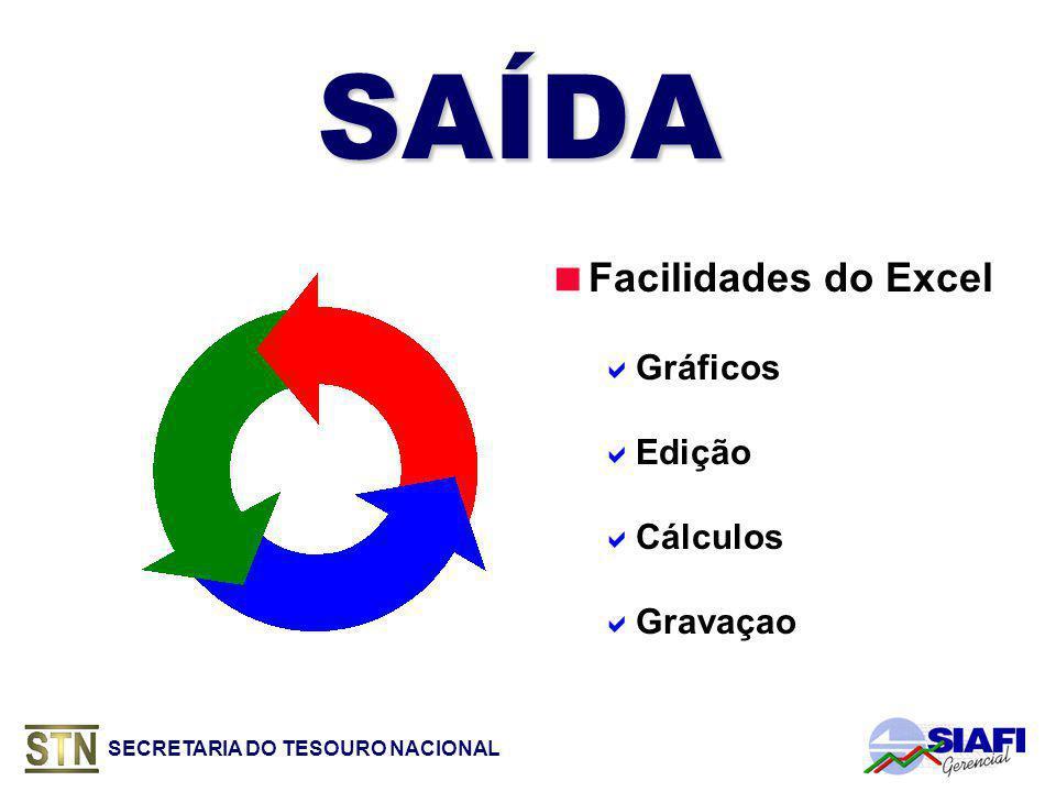 SAÍDA Facilidades do Excel Gráficos Edição Cálculos Gravaçao
