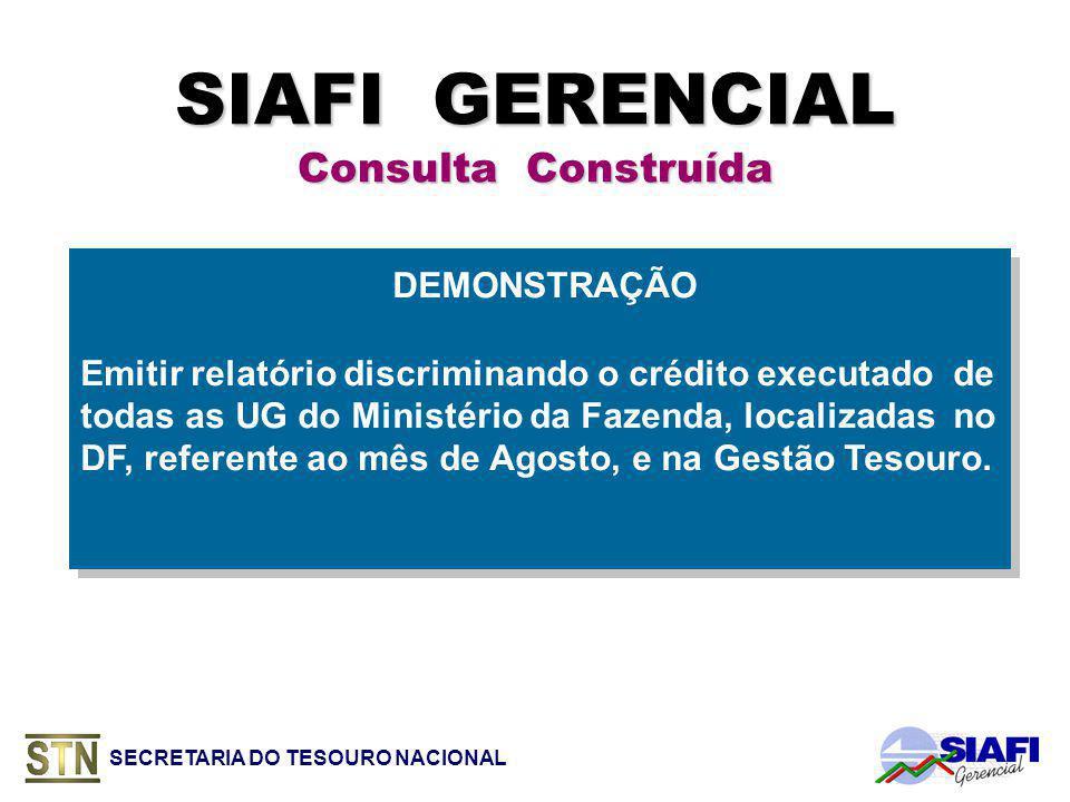 SIAFI GERENCIAL Consulta Construída