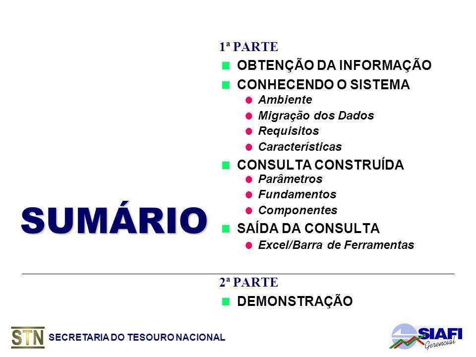 SUMÁRIO 1ª PARTE OBTENÇÃO DA INFORMAÇÃO CONHECENDO O SISTEMA