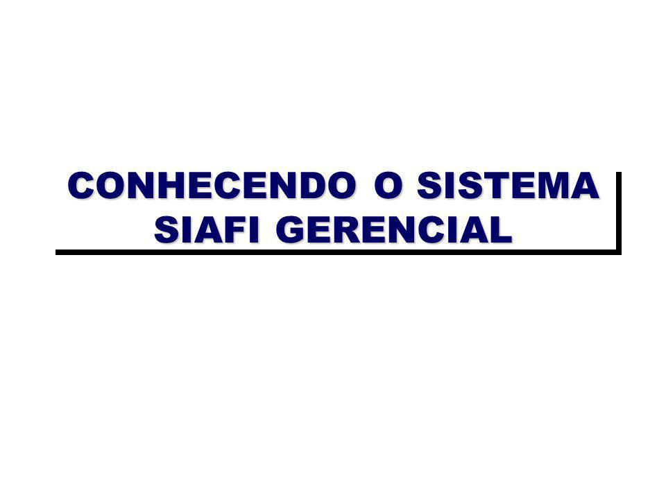 CONHECENDO O SISTEMA SIAFI GERENCIAL
