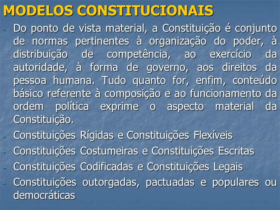 MODELOS CONSTITUCIONAIS