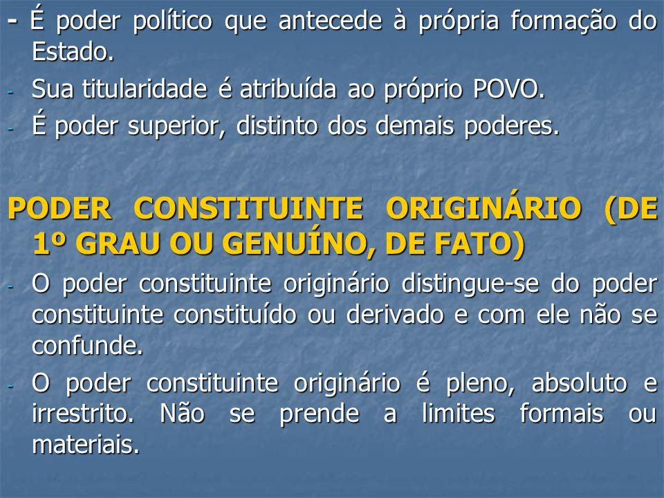 PODER CONSTITUINTE ORIGINÁRIO (DE 1º GRAU OU GENUÍNO, DE FATO)