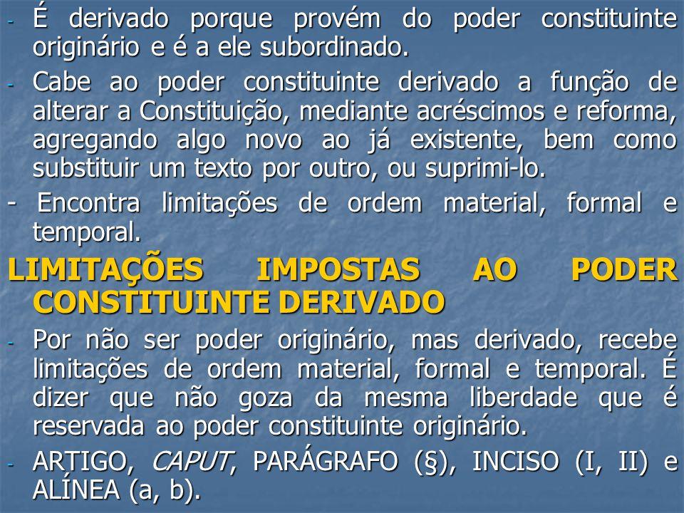 LIMITAÇÕES IMPOSTAS AO PODER CONSTITUINTE DERIVADO