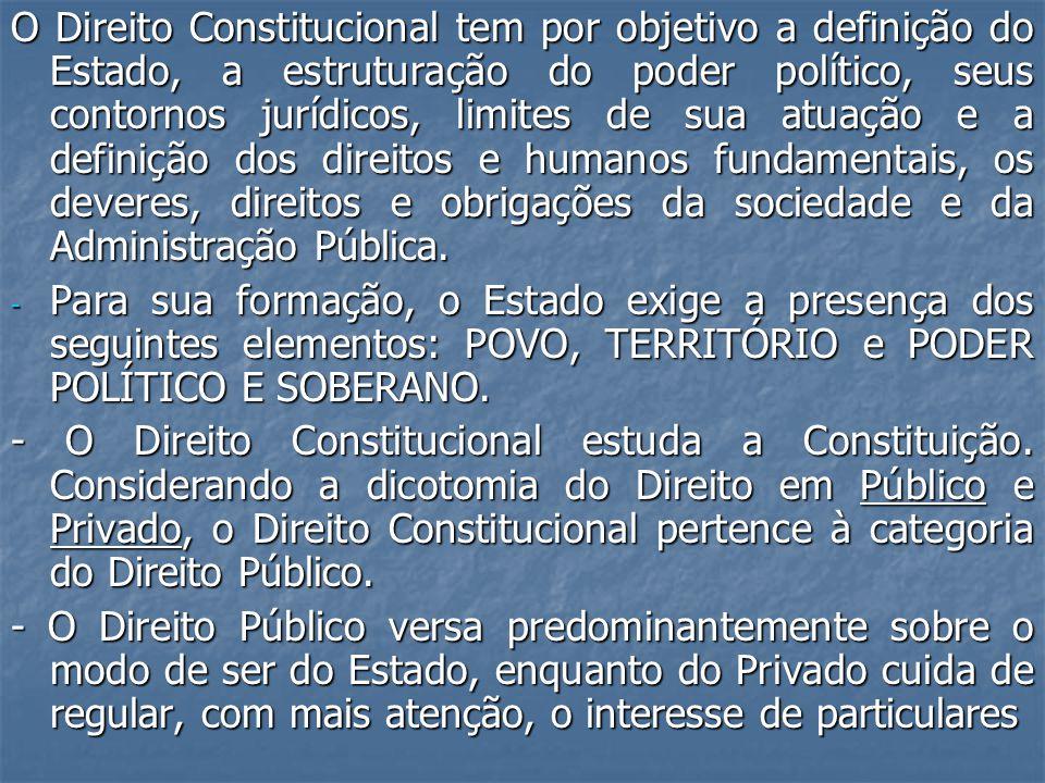 O Direito Constitucional tem por objetivo a definição do Estado, a estruturação do poder político, seus contornos jurídicos, limites de sua atuação e a definição dos direitos e humanos fundamentais, os deveres, direitos e obrigações da sociedade e da Administração Pública.
