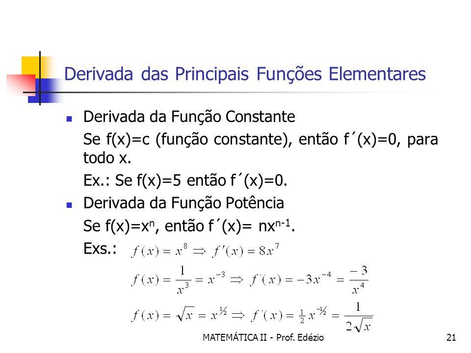 Derivada das Principais Funções Elementares