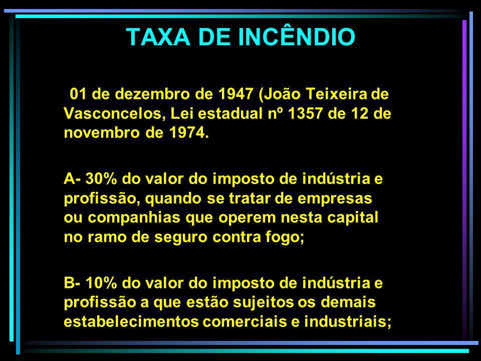 TAXA DE INCÊNDIO 01 de dezembro de 1947 (João Teixeira de Vasconcelos, Lei estadual nº 1357 de 12 de novembro de 1974.