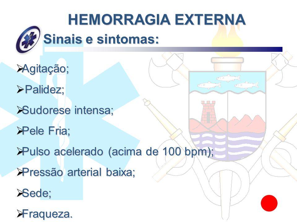Sinais e sintomas: HEMORRAGIA EXTERNA Agitação; Palidez;