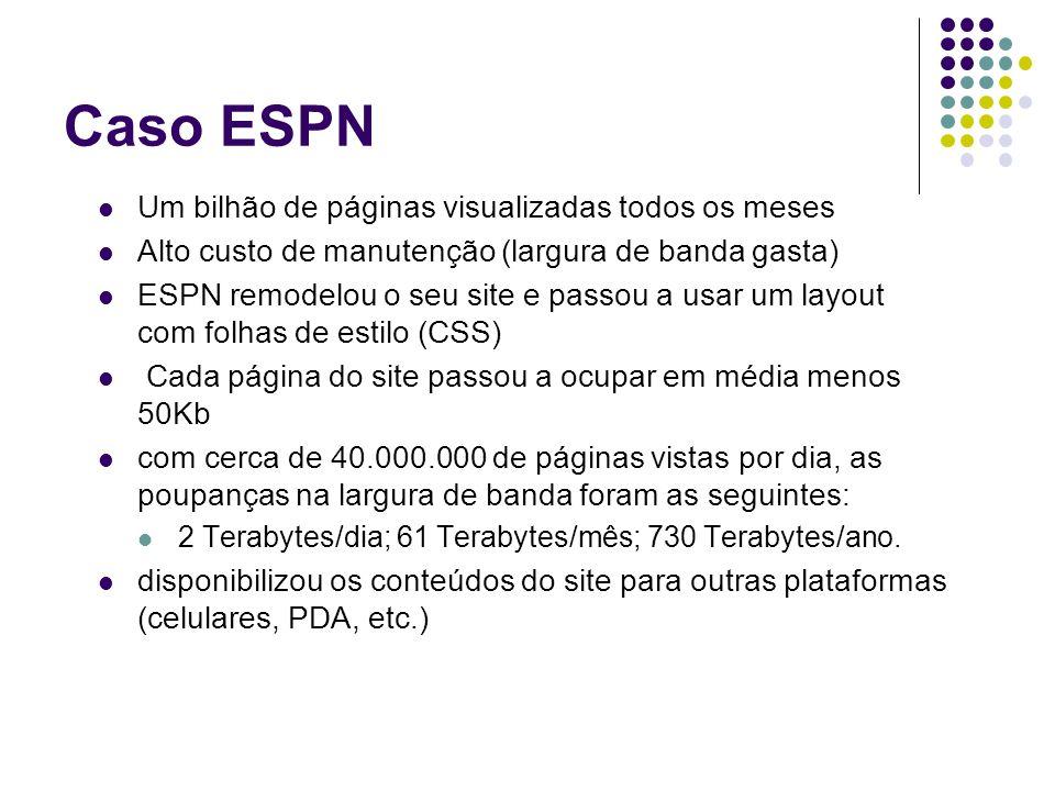 Caso ESPN Um bilhão de páginas visualizadas todos os meses