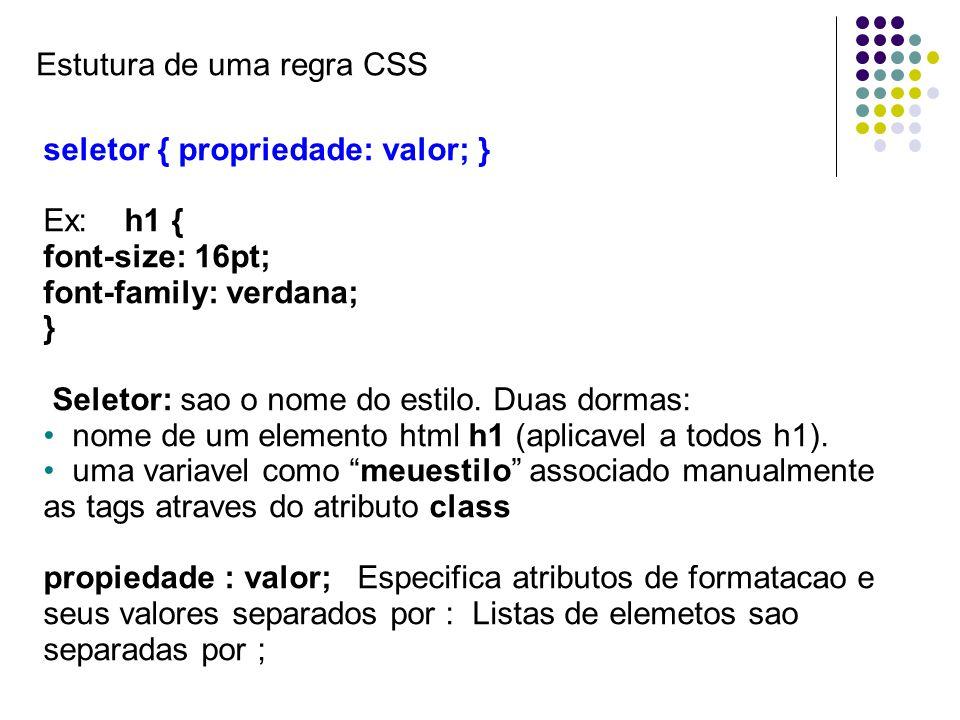 Estutura de uma regra CSS