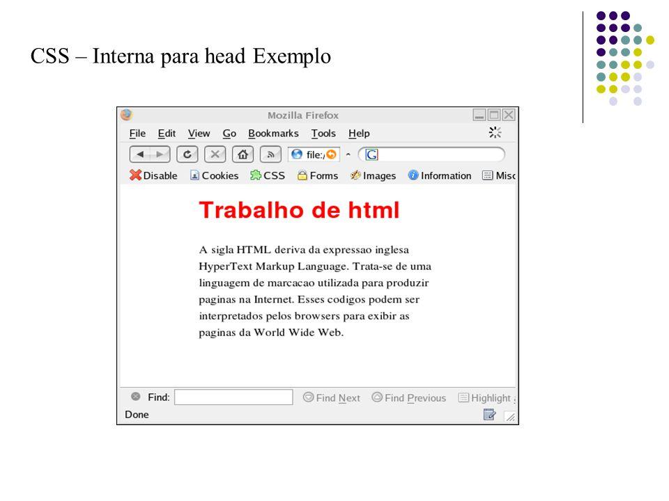 CSS – Interna para head Exemplo