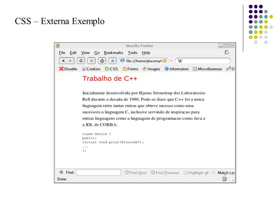 CSS – Externa Exemplo