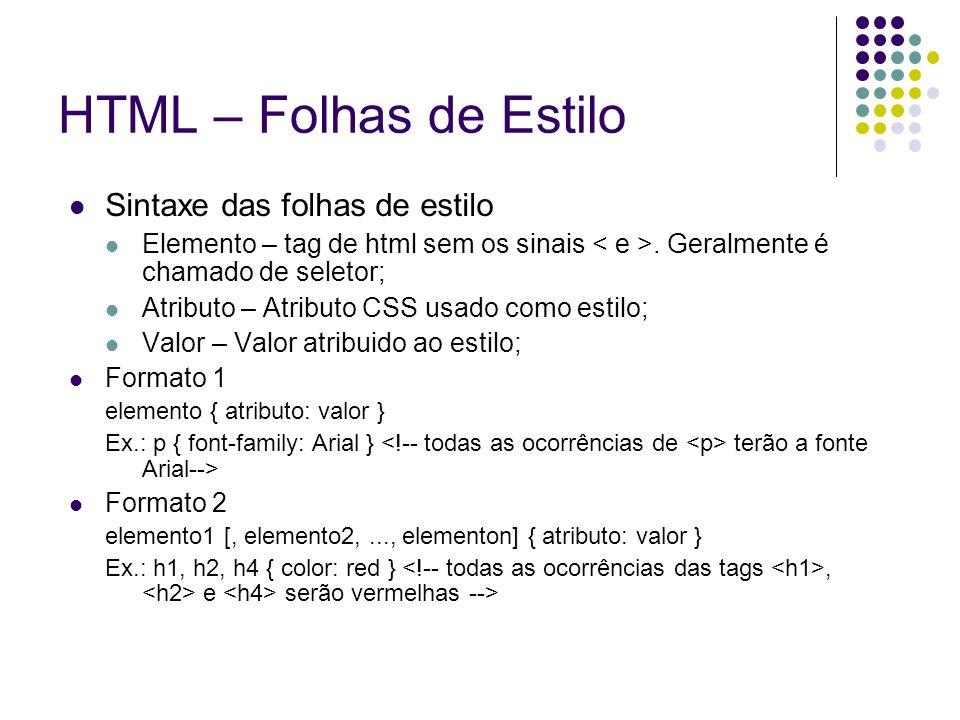 HTML – Folhas de Estilo Sintaxe das folhas de estilo