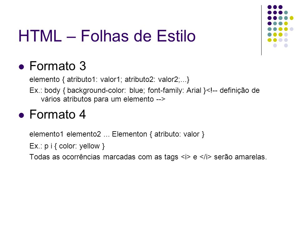 HTML – Folhas de Estilo Formato 3 Formato 4