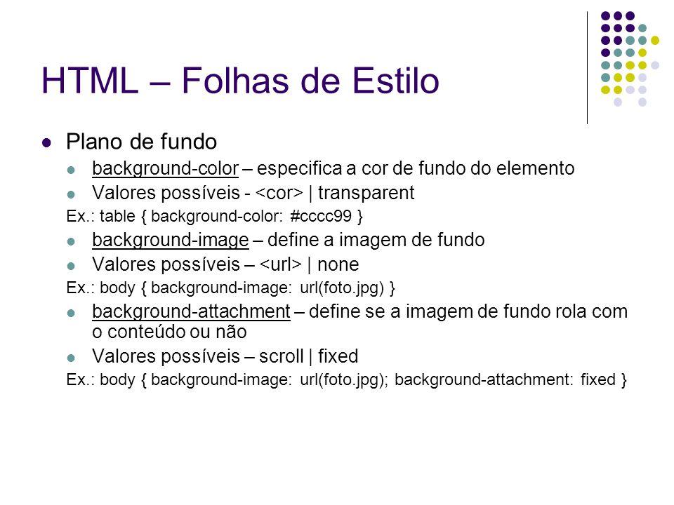 HTML – Folhas de Estilo Plano de fundo
