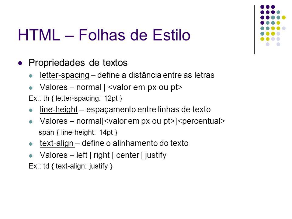 HTML – Folhas de Estilo Propriedades de textos