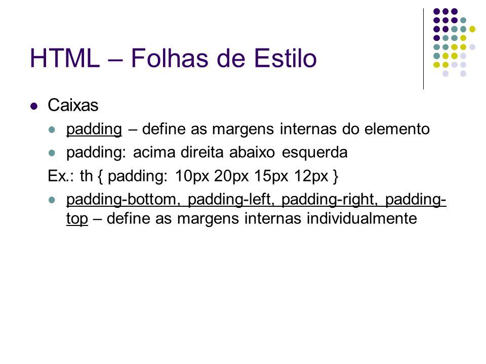 HTML – Folhas de Estilo Caixas