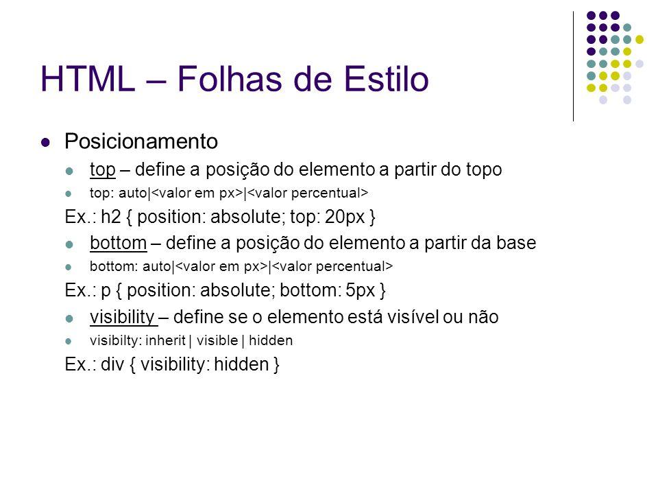 HTML – Folhas de Estilo Posicionamento