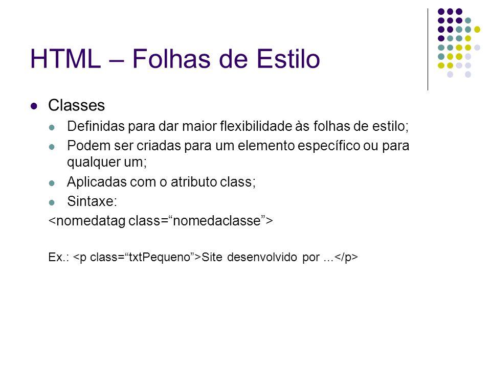 HTML – Folhas de Estilo Classes