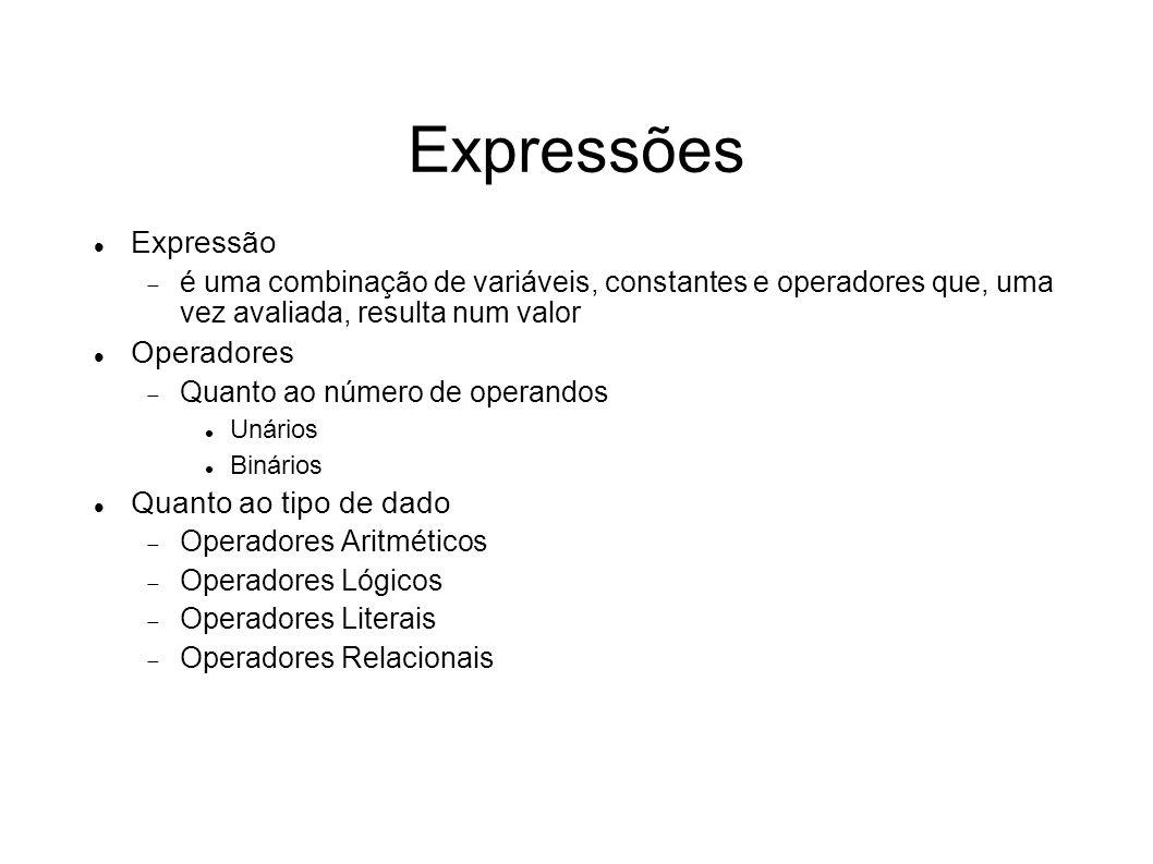 Expressões Expressão Operadores Quanto ao tipo de dado