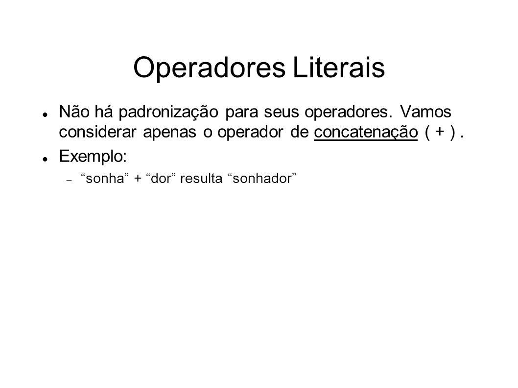 Operadores Literais Não há padronização para seus operadores. Vamos considerar apenas o operador de concatenação ( + ) .