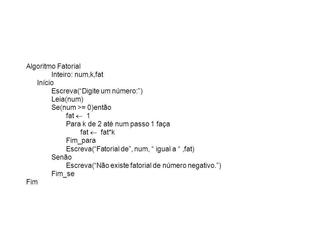 Algoritmo Fatorial Inteiro: num,k,fat. Início. Escreva( Digite um número: ) Leia(num) Se(num >= 0)então.