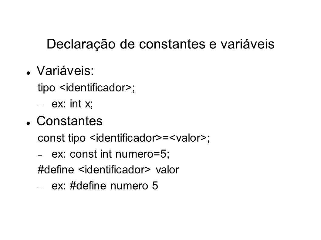 Declaração de constantes e variáveis
