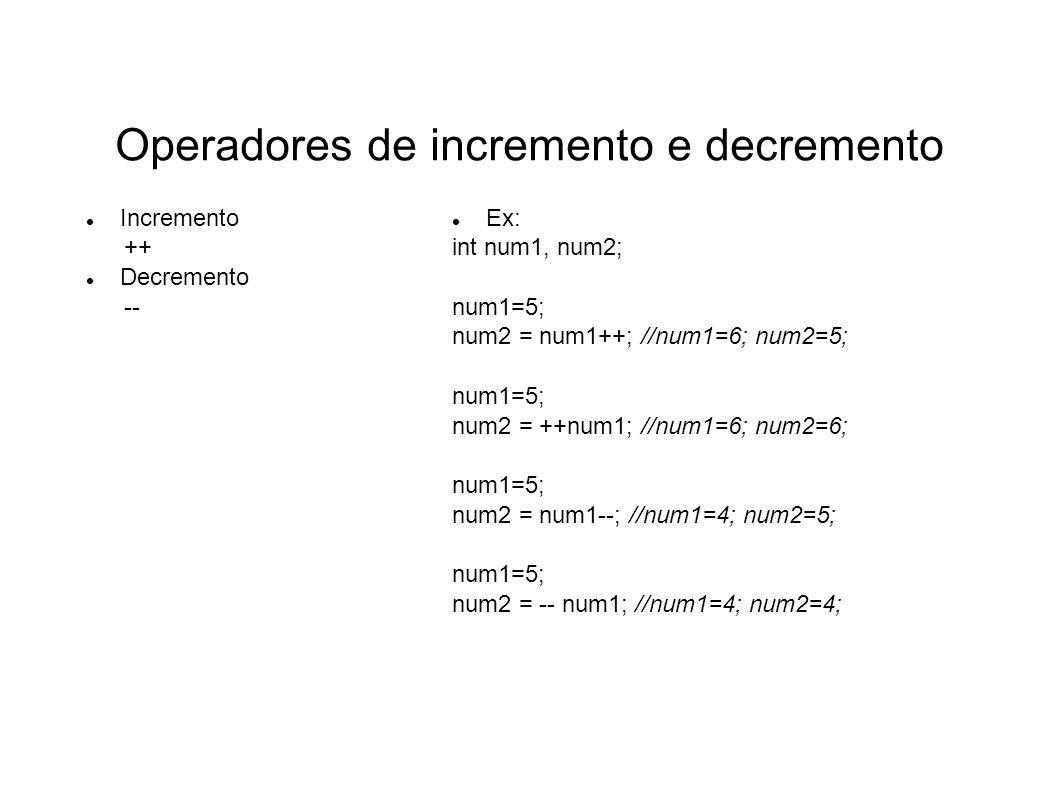 Operadores de incremento e decremento