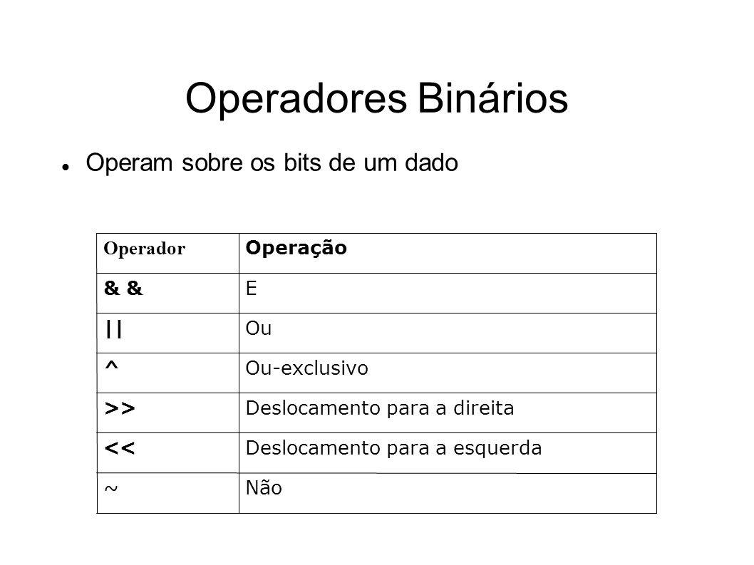Operadores Binários Operam sobre os bits de um dado Não ~