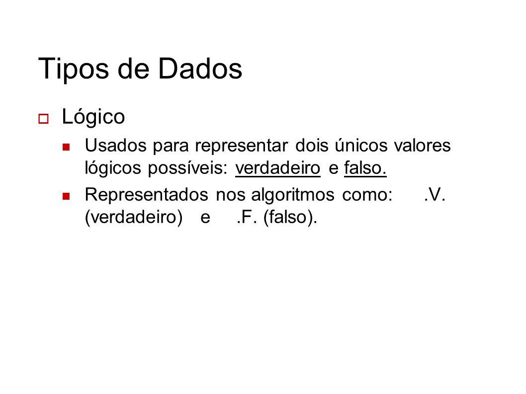 Tipos de Dados Lógico. Usados para representar dois únicos valores lógicos possíveis: verdadeiro e falso.